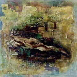 Obraz jaguára v abstraktní kompozici