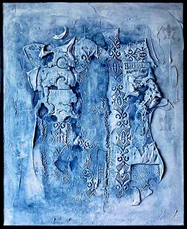Abstraktní 3D obrazová kompozice v modré barvě
