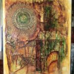 Abstraktní obraz s tématem slunečních hodin