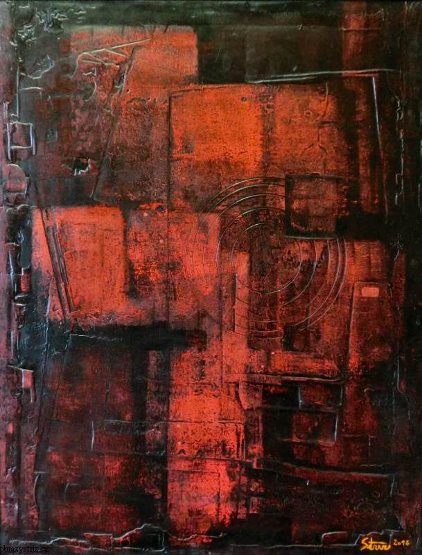 Obraz Red Structure 80x90 cm