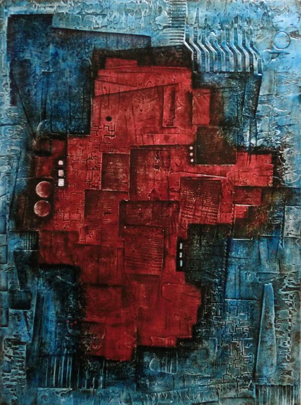 abstraktní obraz rudý baron